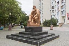 Monumento a Taras Grigorievich Shevchenko na interseção da rua de Shevchenko e do Lenin Prospekt na cidade de Evpatoria Fotografia de Stock