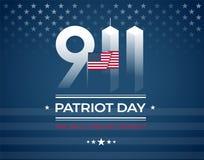 9/11 monumento, tarjeta del día del patriota con la bandera americana Lo vamos a hacer Stock de ilustración