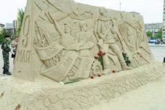 Monumento temporaneo di Victory Day della sabbia Immagine Stock