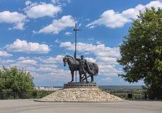 Monumento a un primer colono en Penza, Rusia Foto de archivo libre de regalías