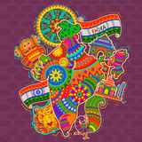 Monumento y cultura de la India en estilo indio del arte libre illustration