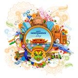 Monumento y señal de la India en fondo indio de la celebración del Día de la Independencia stock de ilustración