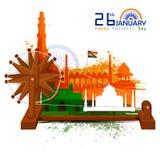 Monumento y señal de la India en fondo indio de la celebración del día de la república libre illustration