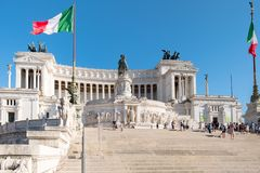 Monumentoen till Vittorio Emanuele II i Rome Royaltyfri Foto