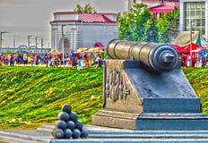 MonumentOmsk fästning och grundarna av staden Arkivfoton