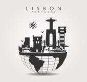 Monumentos del viaje en Lisboa en la parte superior del mundo Imágenes de archivo libres de regalías