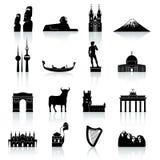 Monumentos do mundo e grupo do ícone da cultura Fotografia de Stock Royalty Free