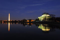 Monumentos Nightscape da C.C. de Washington Fotos de Stock Royalty Free