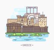 Monumentos y señales griegos Acrópolis, Parthenon Stock de ilustración