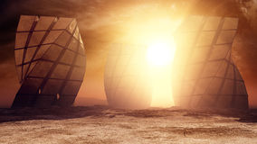 Monuments On Alien Desert Planet. Gigantic monuments on an alien type of desert planet environment with bright sun light and menacing clouds in the sky with dim Royalty Free Stock Photo