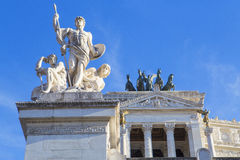 Monuments on the Altar of the Fatherland. ROME, ITALY - SEPTEMBER 21, 2016: Altar of the Fatherland in the Venice area, Rome`s architectural masterpiece, Italy Stock Photos