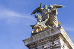 Monuments on the Altar of the Fatherland. ROME, ITALY - SEPTEMBER 21, 2016: Altar of the Fatherland in the Venice area, Rome`s architectural masterpiece, Italy Royalty Free Stock Photos