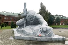 Monuments of the Brest Fortress in Belarus. Soldier crawling for water Royalty Free Stock Photography