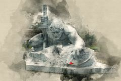 Monuments of the Brest Fortress in Belarus. Soldier crawling for water. Watercolor background Stock Photography
