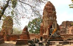 Monuments of buddah. Ruins of Ayutthaya, old capital of Thailand stock photo