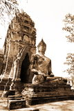 Monuments of buddah, ruins of Ayutthaya. Old capital of Thailand stock photography