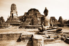 Monuments of buddah, ruins of Ayutthaya Royalty Free Stock Photo