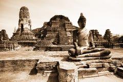 Monuments of buddah, ruins of Ayutthaya. Old capital of Thailand royalty free stock photo