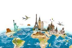 Monuments célèbres de la terre environnante de planète du monde sur le blanc Image stock