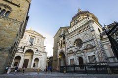 Bergamo, Italy. Monuments of the Citta Alta upper city of Bergamo, Italy. the Duomo cathedral, the Basilica di Santa Maria Maggiore and the Cappella Colleoni Royalty Free Stock Photo