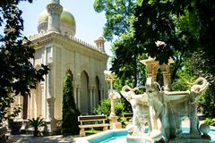 The monuments in the city park. Sunny day. Beautiful fountain stock photos
