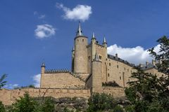 Monuments of the city of Segovia, the Real Alcazar, Spain royalty free stock photo