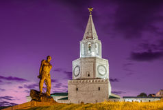Monuments de Kazan en ciel pourpre photos libres de droits