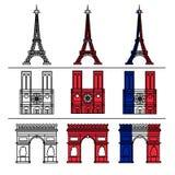 Monuments de Paris réglés illustration stock
