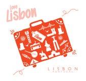 Monuments de voyage de Lisbonne de valise à Lisbonne illustration stock