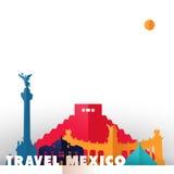 Monuments du monde de coupe de papier de pays du Mexique de voyage illustration de vecteur