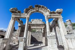 Monuments of Ephesus old greek city in turkey. Ephesus was an ancient Greek city on the coast of Ionia, three kilometres southwest of present-day  stock image
