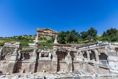Monuments of Ephesus old greek city in turkey. Ephesus was an ancient Greek city on the coast of Ionia, three kilometres southwest of present-day  stock photos