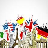 Monuments et drapeaux Photographie stock libre de droits