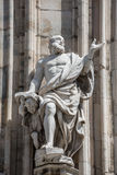 Monuments at facade of the Cathedral of Milano, Duomo di Milano, Royalty Free Stock Image
