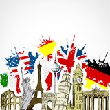 Monuments and flags. Illustration of monuments and flags Royalty Free Stock Photography