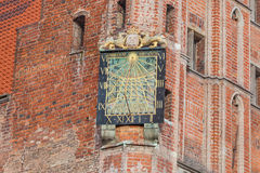 Monuments of Gdansk - Sundial on the Town Hall tower Royalty Free Stock Photos