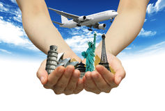 Monuments in hands. Travel concept with monuments and hands Royalty Free Stock Images