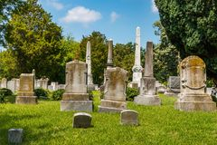 Monuments and Headstones in a Civil War Era Cemetery.  Stock Images