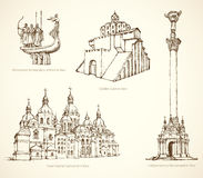 Monuments historiques célèbres de Kiev Croquis de vecteur Image libre de droits