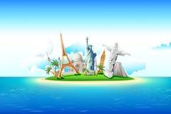 Monuments on Island stock illustration