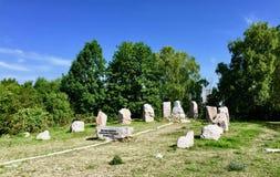 Monuments in Kielce. Small monuments in public park. Kielce, ÅšwiÄ™tokrzyskie, Poland stock image