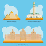 Monuments and landmarks in Africa Vol. 1 Vector illustration Stock Image