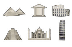 Monuments and landmarks illustration Royalty Free Stock Photo