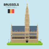 Monuments and landmarks Vector Collection: Brussels Town Hall. Royalty Free Stock Image