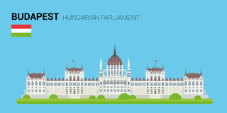 Monuments and landmarks Vector Collection: Hungarian Parliament. Royalty Free Stock Images