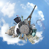 Monuments of Paris on a planet - Travel concept Stock Photography