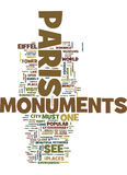 Monuments Of Paris Text Background Word Cloud Concept royalty free illustration