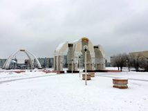 Monuments in the snow. Monuments near St. Nicholas Orthodox Church in the snow in spring in Aktobe, Kazakhstan on March 13th, 2016. Monument to the back is Royalty Free Stock Photography