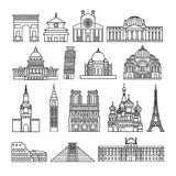 Monuments thin line icons Stock Images