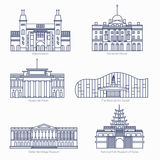 Monuments thin line vector icons. Amsterdam state museum, Somerset House, The National Art Center, State Hermitage. Museum, National Folk Museum of Korea Stock Images